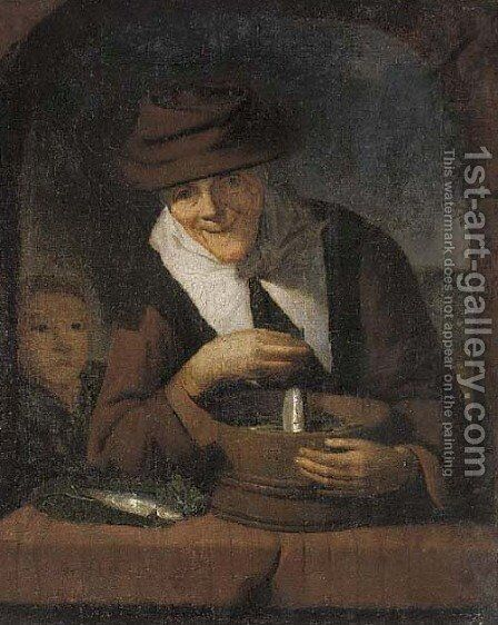 An old woman with a tub of fish at a casement by (after) Gerrit Dou - Reproduction Oil Painting