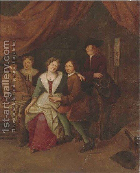 Elegant company courting in an interior by (after) Gerrit Lundens - Reproduction Oil Painting