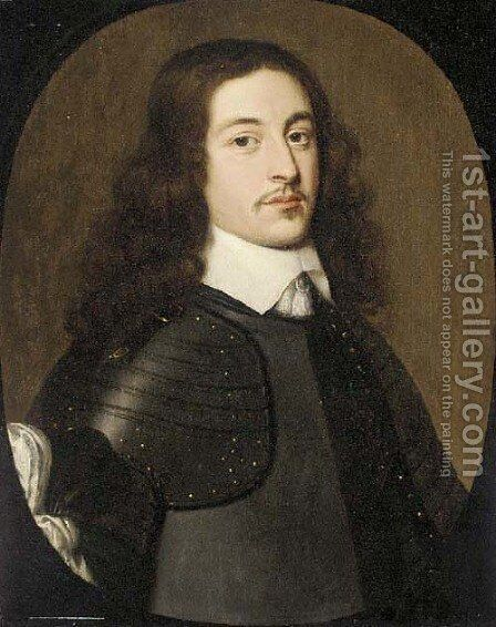Portrait of a gentleman, three-quarter-length, in a breast plate by (after) Honthorst, Gerrit van - Reproduction Oil Painting
