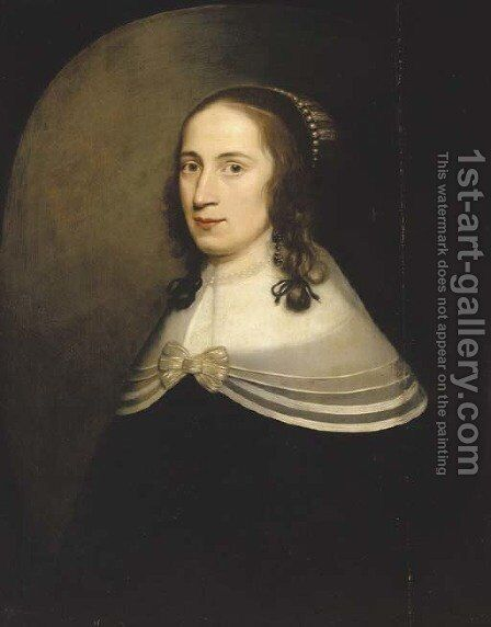 Portrait of a lady, half-length, in a black dress with a white collar and a pearl necklace by (after) Honthorst, Gerrit van - Reproduction Oil Painting