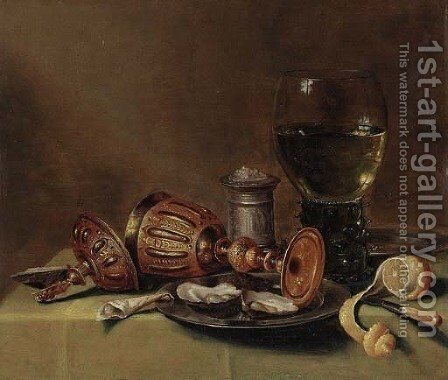 A roemer, an overturned goblet, oysters on a pewter plate by (after) Gerrit Willemsz. Heda - Reproduction Oil Painting