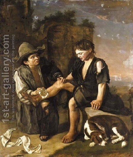 Two young boys with a dog by (after) Giacomo Ceruti (Il Pitocchetto) - Reproduction Oil Painting