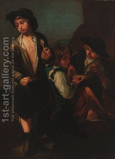 Boys drinking soup in a landscape by (after) Giacomo Francesco Cipper - Reproduction Oil Painting
