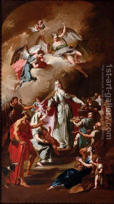 Saint Elizabeth of Thuringia distributing alms by (after) Giambattista Pittoni - Reproduction Oil Painting