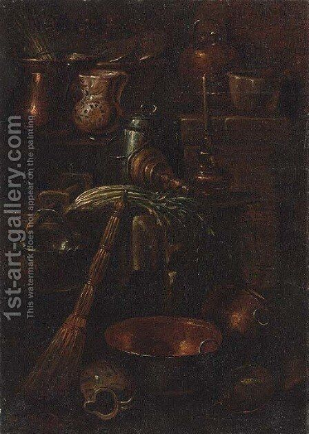 A bell, celery, ceramic pots and copper cooking vessels in a kitchen interior by (after) Gian Domenico Valentino - Reproduction Oil Painting