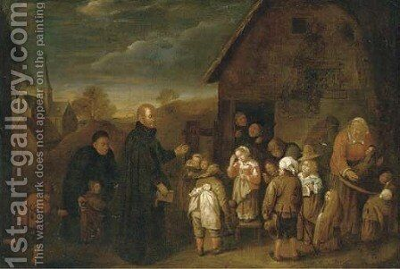 A clergyman visiting a village school by (after) Gillis Van Tilborgh - Reproduction Oil Painting
