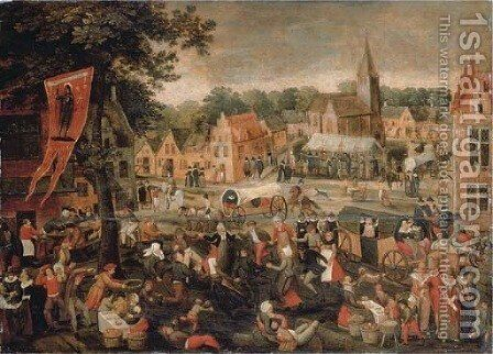 A town kermesse by (after) Gillis Mostaert - Reproduction Oil Painting