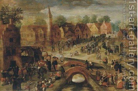 A village kermesse by (after) Gillis Mostaert - Reproduction Oil Painting