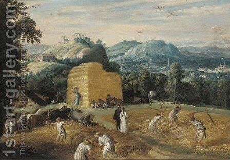 Summer A mountainous village landscape with peasants threshing wheat in a field by (after) Gillis Mostaert - Reproduction Oil Painting