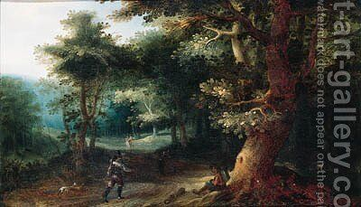 A sportsman and a traveller on a path in the wood by (after) Gillis Van Coninxloo - Reproduction Oil Painting