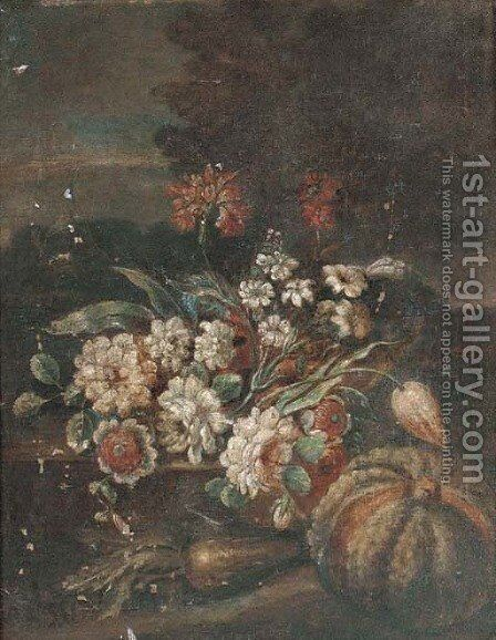 Mixed flowers in a glass of water with a melon by (after) Giovan Battista Ruoppolo - Reproduction Oil Painting
