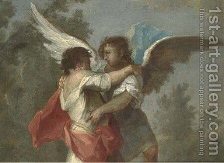Jacob wrestling the Angel by (after) Giovanni Antonio Guardi - Reproduction Oil Painting