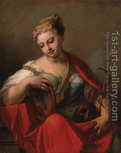 The personification of Prudence by (after) Giovanni Antonio Pellegrini - Reproduction Oil Painting