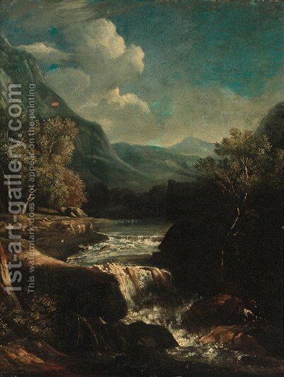 An Italianate rocky river landscape with travellers on a track by Circle Of(after) Giovanni Battista Busieri - Reproduction Oil Painting