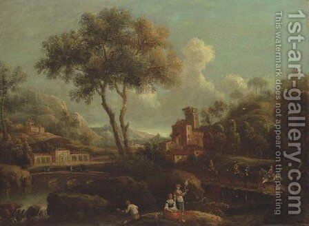 An Italianate landscape with peasants fishing by a river, horsemen crossing a bridge beyond by (after) Gianbattista Cimaroli - Reproduction Oil Painting