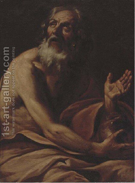 Saint Jerome 2 by (after) Giovanni Battista Langetti - Reproduction Oil Painting