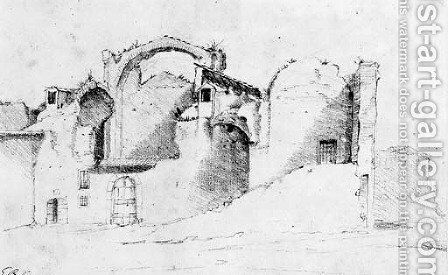 A view of the ruins of the Baths of Diocletian by (after) Giovanni Benedetto Castiglione - Reproduction Oil Painting