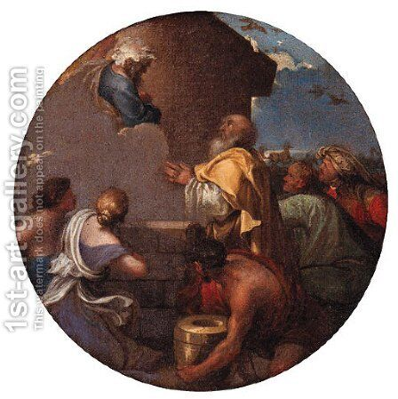God the Father appearing to Noah by (after) Giovanni Benedetto Castiglione - Reproduction Oil Painting