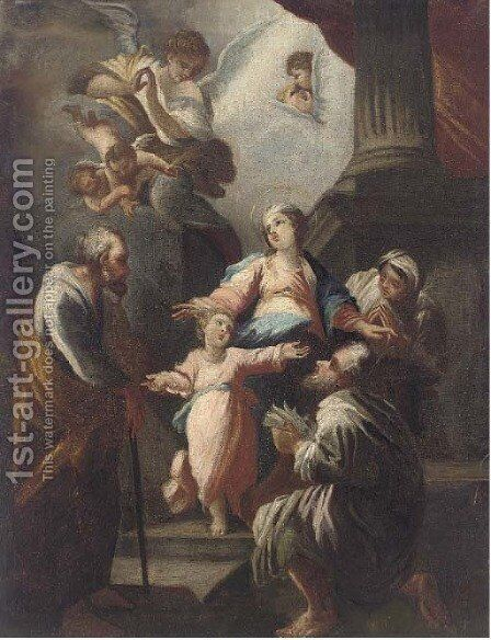 The Holy Family with saints and angels by (after) Giovanni Camillo Sagrestani - Reproduction Oil Painting