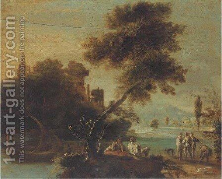 A wooded river landscape with figures resting by a river bank, classical ruins beyond by (after) Giovanni De Momper - Reproduction Oil Painting