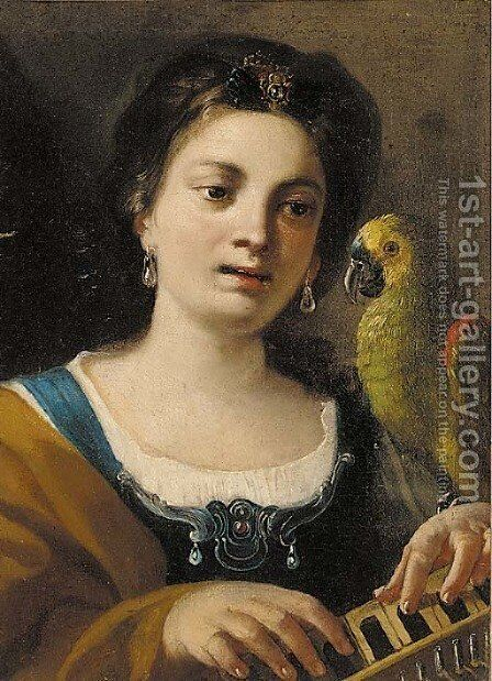 A girl, half-length, playing a keyboard instrument, with a parrot by (after) Giovanni Domenico Tiepolo - Reproduction Oil Painting