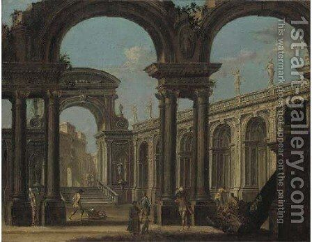 A capriccio of a classical palace with figures by (after) Giovanni Ghisolfi - Reproduction Oil Painting