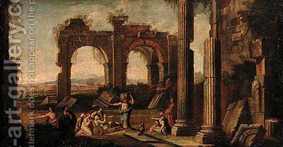 A capriccio of classical ruins with Christ at the Pool of Bethesda by (after) Giovanni Ghisolfi - Reproduction Oil Painting