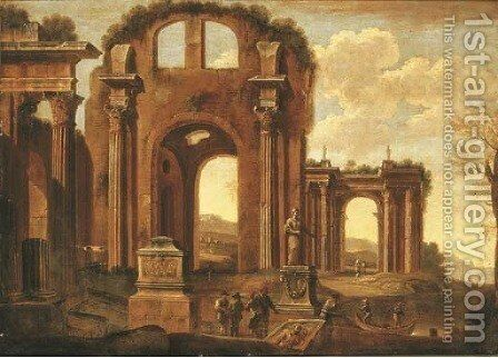 An architectural capriccio with figures amongst ruins by (after) Giovanni Ghisolfi - Reproduction Oil Painting
