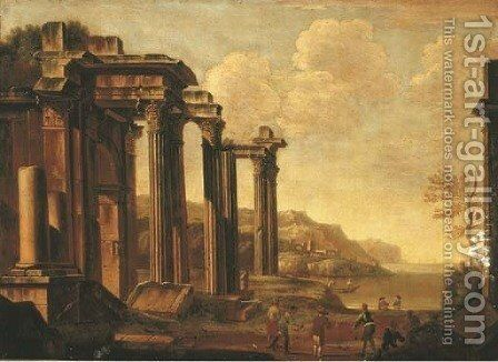 An architectural capriccio with figures by a cove by (after) Giovanni Ghisolfi - Reproduction Oil Painting