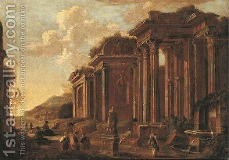 An architectural capriccio with figures by a statue and a fountain by (after) Giovanni Ghisolfi - Reproduction Oil Painting