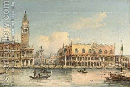 Gondolas approaching Piazza San Marco, Venice by (after) Giovanni Grubacs - Reproduction Oil Painting
