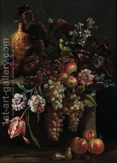Still life of a pomegranate by (after) Giovanni Paolo Castelli, Called Spadino - Reproduction Oil Painting