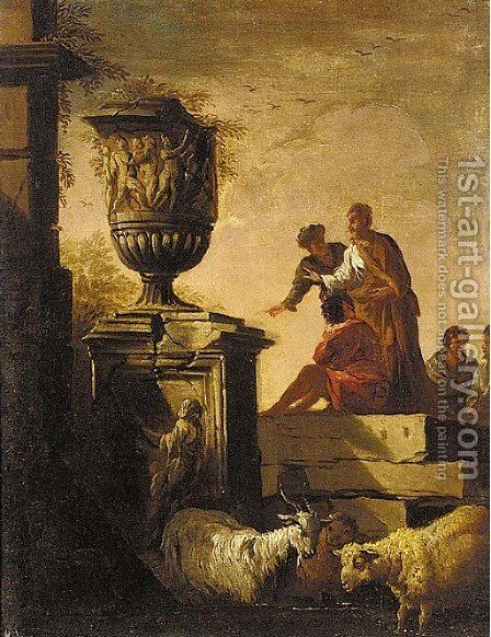 A capriccio of classical ruins with figures conversing before an urn by (after) Giovanni Paolo Panini - Reproduction Oil Painting