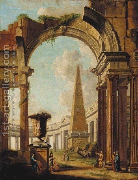 A capriccio of Roman ruins with a soldier and other figures by (after) Giovanni Paolo Panini - Reproduction Oil Painting