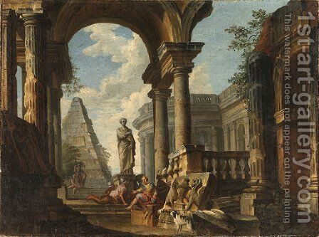 A Capriccio of Roman Ruins with Soldiers resting in the foreground by (after) Giovanni Paolo Panini - Reproduction Oil Painting
