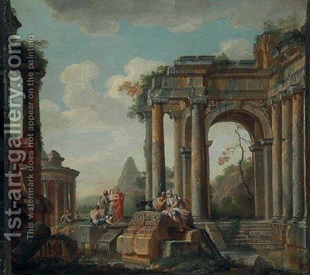 A capriccio of classical ruins, the Pyramid of Cestius and Temple of the Sibyl beyond by (after) Giovanni Di Paolo - Reproduction Oil Painting