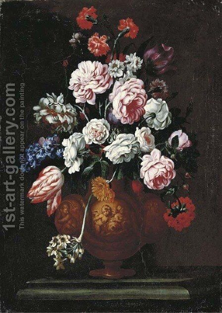 Roses, carnations, tulips and other flowers in a sculpted urn on a stone ledge by (after) Giovanni Stanchi - Reproduction Oil Painting