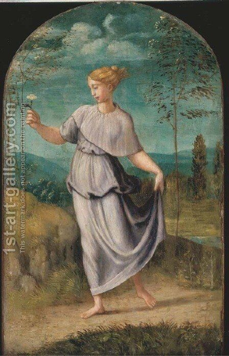 A young woman holding a flower with an extensive landscape beyond by (after) Girolamo Da Carpi - Reproduction Oil Painting