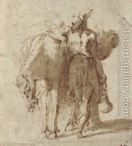 A man leaning against a laden horse by (after) Girolamo Francesco Maria Mazzola (Parmigianino) - Reproduction Oil Painting