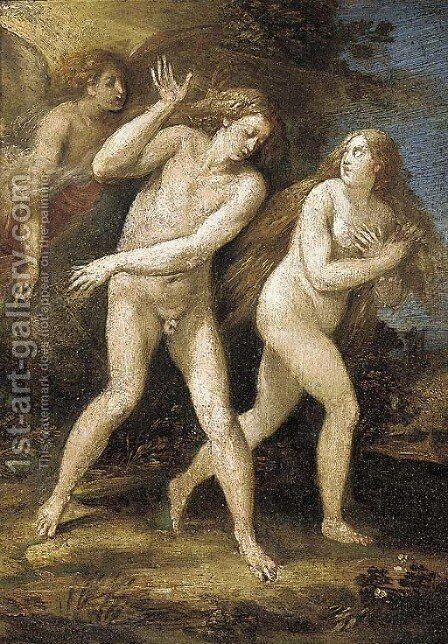 The Expulsion of Adam and Eve from the Garden of Eden by (after) Giuseppe (d'Arpino) Cesari (Cavaliere) - Reproduction Oil Painting