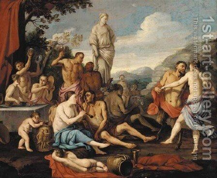 A bacchanal by (after) Giulio Carpioni - Reproduction Oil Painting