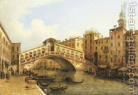 A view of the Rialto Bridge, Venice by (after) Giuseppe Bernardino Bison - Reproduction Oil Painting
