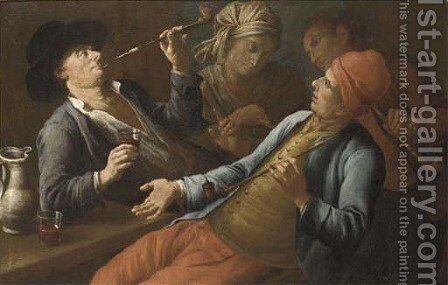 Peasants drinking and smoking in an interior by (after) Giuseppe Bonito - Reproduction Oil Painting