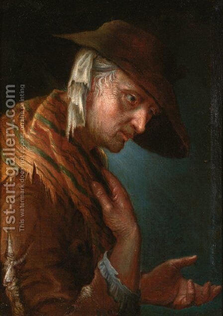 A beggarwoman by (after) Giuseppe Nogari - Reproduction Oil Painting