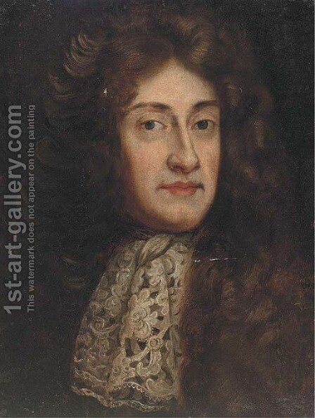 Portrait of a gentlman, bust-length, in a full wig and lace tie by (after) Kneller, Sir Godfrey - Reproduction Oil Painting