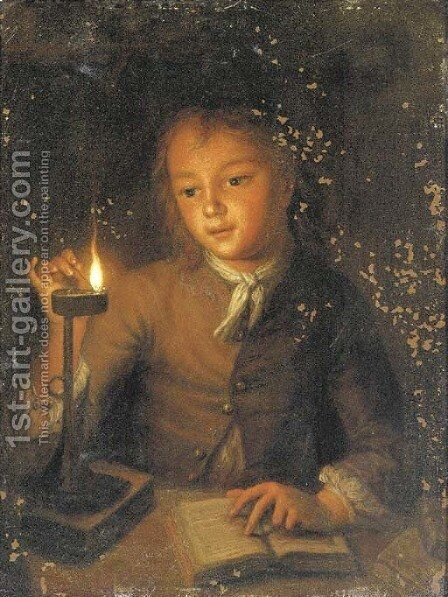 A boy reading by candlelight by (after) Godfried Schalcken - Reproduction Oil Painting