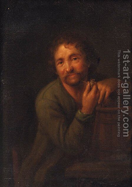 A bearded man with a pipe, leaning on a wooden pail by (after) Godfried Schalcken - Reproduction Oil Painting