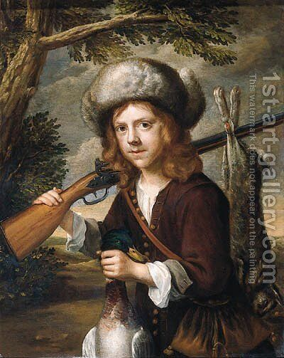 A portrait of a youth, standing three quarter length in a landscape, holding a dead duck and a rifle by (attr. to) Flinck, Govaert - Reproduction Oil Painting