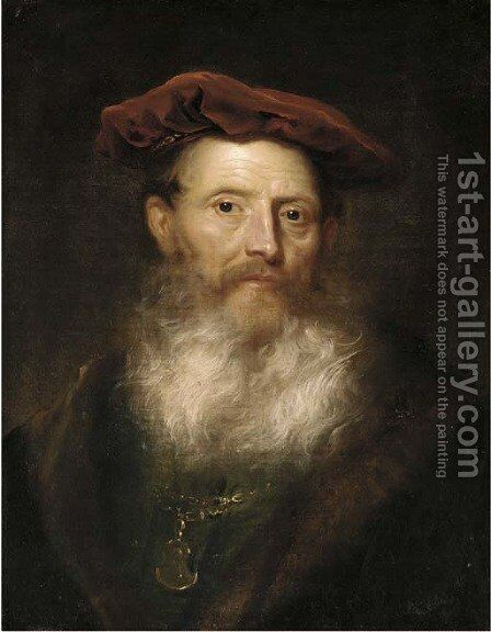 Portrait of a bearded man, bust-length, in a fur-trimmed black coat and a velvet cap by (attr. to) Flinck, Govaert - Reproduction Oil Painting