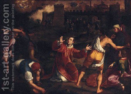 The Stoning of Saint Stephen by (after) Gregorio Pagani - Reproduction Oil Painting